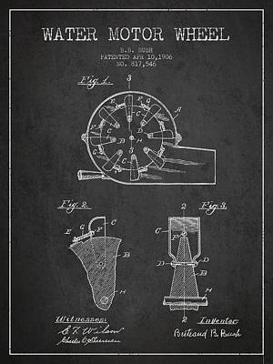 Water Motor Wheel Patent From 1906 - Charcoal Poster by Aged Pixel
