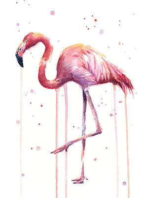 Watercolor Flamingo Poster by Olga Shvartsur