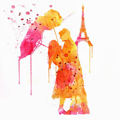 Watercolor Love Couple In Paris Poster by Marian Voicu