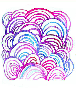 Watercolor Scallops In Pink And Blue Poster by Gillham Studios