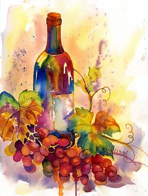 Watercolor Wine Poster by Peggy Wilson