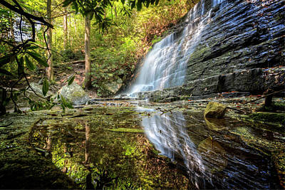 Waterfall Reflections Poster by Debra and Dave Vanderlaan