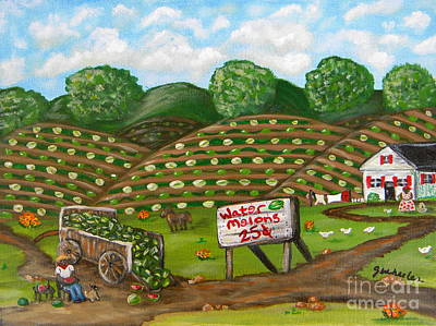 Watermelons For Sale Poster by JoAnn Wheeler