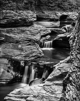 Watkins Glen Gorge Waterfall Black And White Poster by Edward Fielding