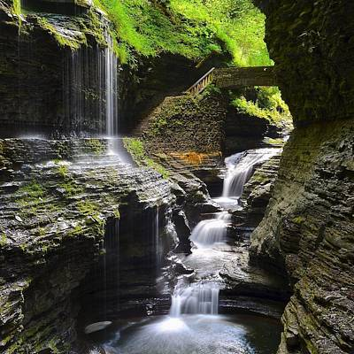 Watkins Glen Rainbow Falls Squared Poster by Frozen in Time Fine Art Photography