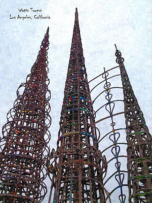 Watts Towers 2 - Los Angeles Poster by Glenn McCarthy Art and Photography