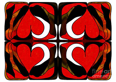 Wavering Hearts Abstract Bliss Art By Omashte Poster by Omaste Witkowski