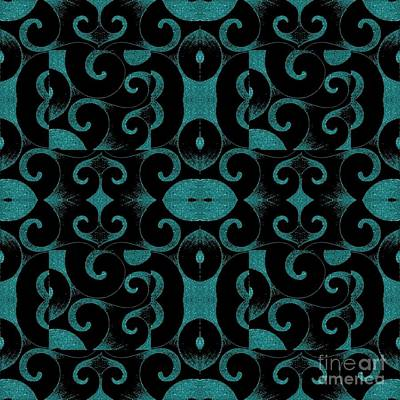 Waves Inverted Blue Green Arrangement Poster by Helena Tiainen