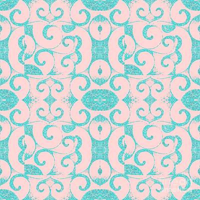 Waves Inverted In Pink And Blue Poster by Helena Tiainen