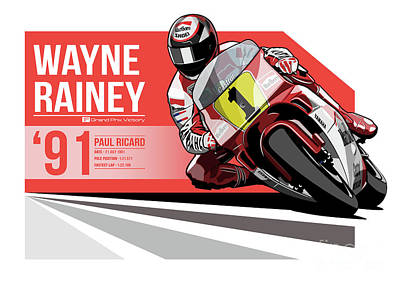 Wayne Rainey - 1991 Paul Ricard Poster by Evan DeCiren