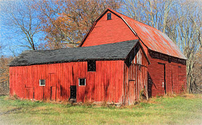 Weathered Red Barn Poster by David Letts