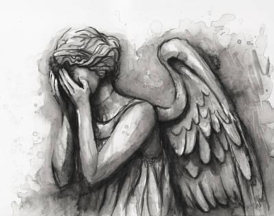 Weeping Angel Watercolor Poster by Olga Shvartsur