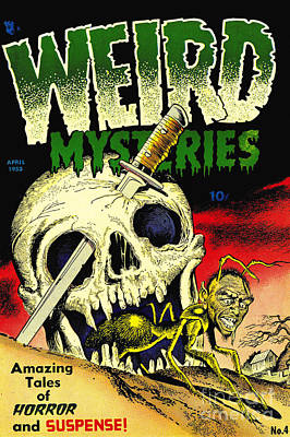 Weird Mysteries 1950s Horror Comic Book Poster by Halloween Dreams