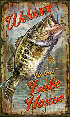Welcome Lake House Sign Poster by Jon Q Wright