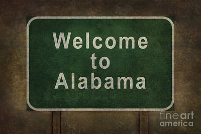 Welcome To Alabama Roadside Sign Illustration Poster by Bruce Stanfield
