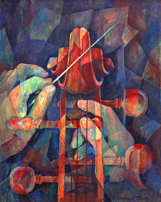 Well Conducted - Painting Of Cello Head And Conductor's Hands Poster by Susanne Clark