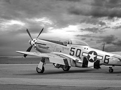Well Earned Rest P-51 In Black And White Poster by Gill Billington