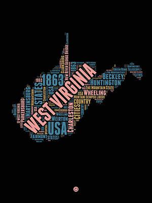 West Virginia Word Cloud Map 1 Poster by Naxart Studio