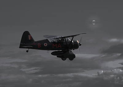 Westland Lysander - Moonlit Mission Poster by Pat Speirs