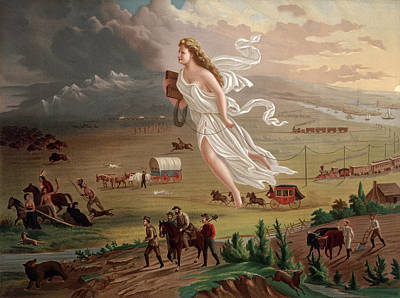 Westward Ho Allegorical Female Figure Poster by Everett