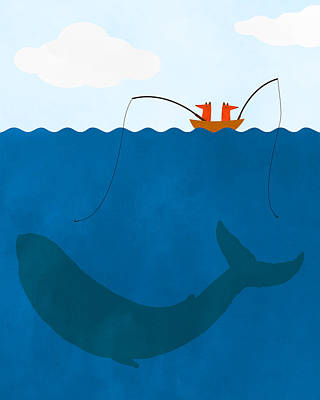 Whale Fishing Nursery Art Poster by Brett Pfister