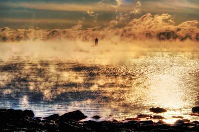 Whaleback Lighthouse Golden Sunrise - Maine Poster by Joann Vitali