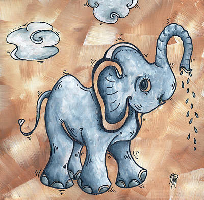 Whimsical Pop Art Childrens Nursery Original Elephant Painting Adorable By Madart Poster by Megan Duncanson
