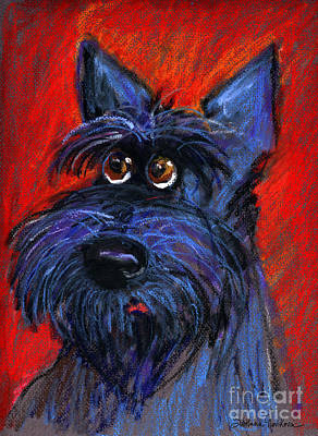 whimsical Schnauzer dog painting Poster by Svetlana Novikova