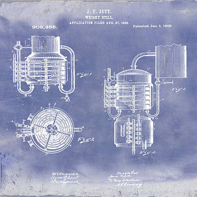 Whiskey Still 1906 In Blue Grunge Poster by Bill Cannon