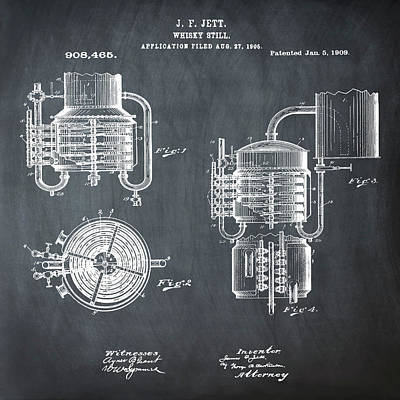 Whiskey Still 1906 In Chalk Poster by Bill Cannon