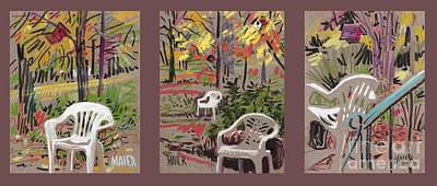 White Chairs And Birdhouses 1 Poster by Donald Maier