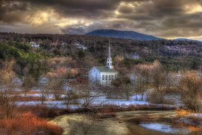 White Church In Vermont Poster by Joann Vitali