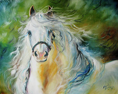 White Cloud The Andalusian Stallion Poster by Marcia Baldwin
