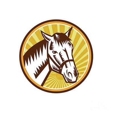 White Horse Head Sunburst Circle Woodcut Poster by Aloysius Patrimonio
