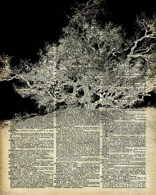 White Lonley Tree Dictionary Art Poster by Jacob Kuch