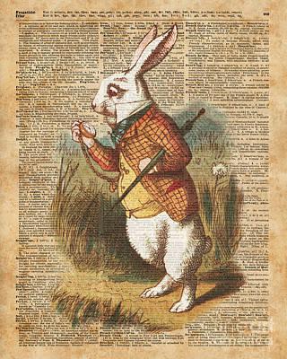 White Rabbit Alice In Wonderland Vintage Art Poster by Jacob Kuch
