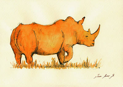 White Rhino Orange Poster by Juan  Bosco