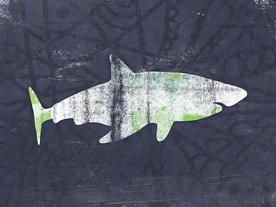 White Shark- Art By Linda Woods Poster by Linda Woods