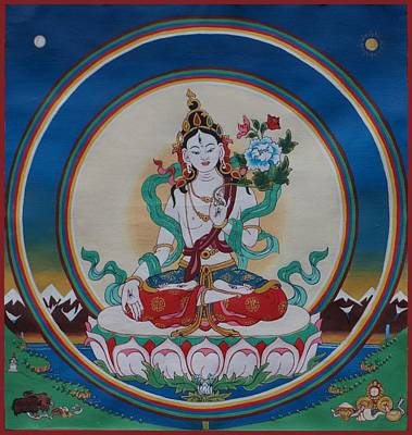 White Tara, Double Rainbow Poster by Berty Sieverding