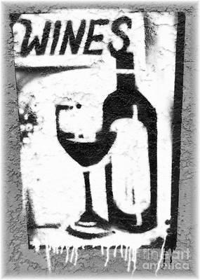 White Wine Sign Poster by Barbie Corbett-Newmin