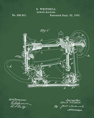 Whitehill Sewing Machine Patent 1885 Green Poster by Bill Cannon