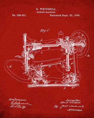 Whitehill Sewing Machine Patent 1885 Red Poster by Bill Cannon
