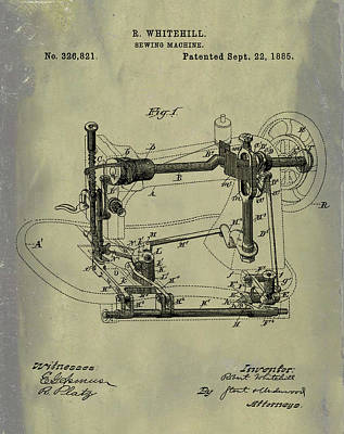 Whitehill Sewing Machine Patent 1885 Weathered Poster by Bill Cannon
