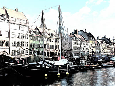Whitewash At Nyhavn Poster by Dorothy Berry-Lound
