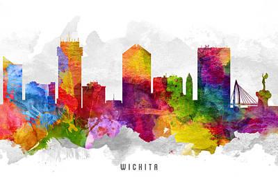 Wichita Kansas Cityscape 13 Poster by Aged Pixel