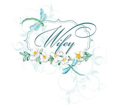 Wifey New Bride Dragonfly W Daisy Flowers N Swirls Poster by Audrey Jeanne Roberts