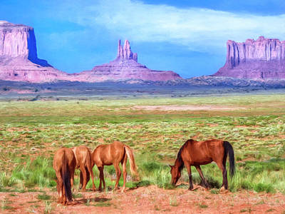 Wild Horses In Monument Valley Poster by Dominic Piperata