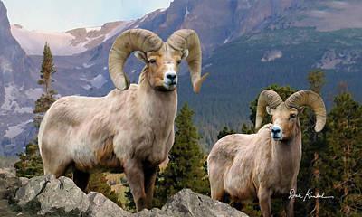 Wildlife Art - Bighorn Sheep Poster by Dale Kunkel Art