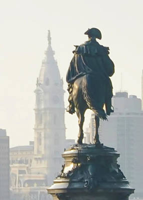 William Penn And George Washington - Philadelphia Poster by Bill Cannon