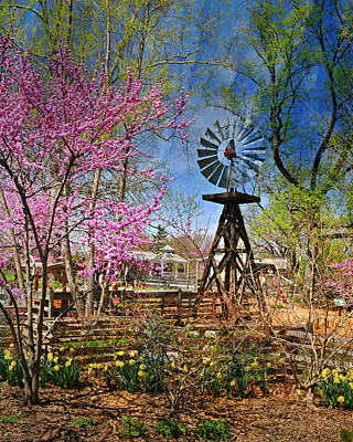 Windmill At The Garden Poster by Marty Koch
